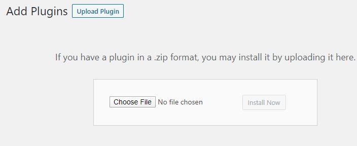 Wordpress Plugin Upload Screen