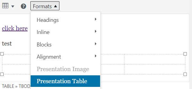 Example of setting a table as presentation only.